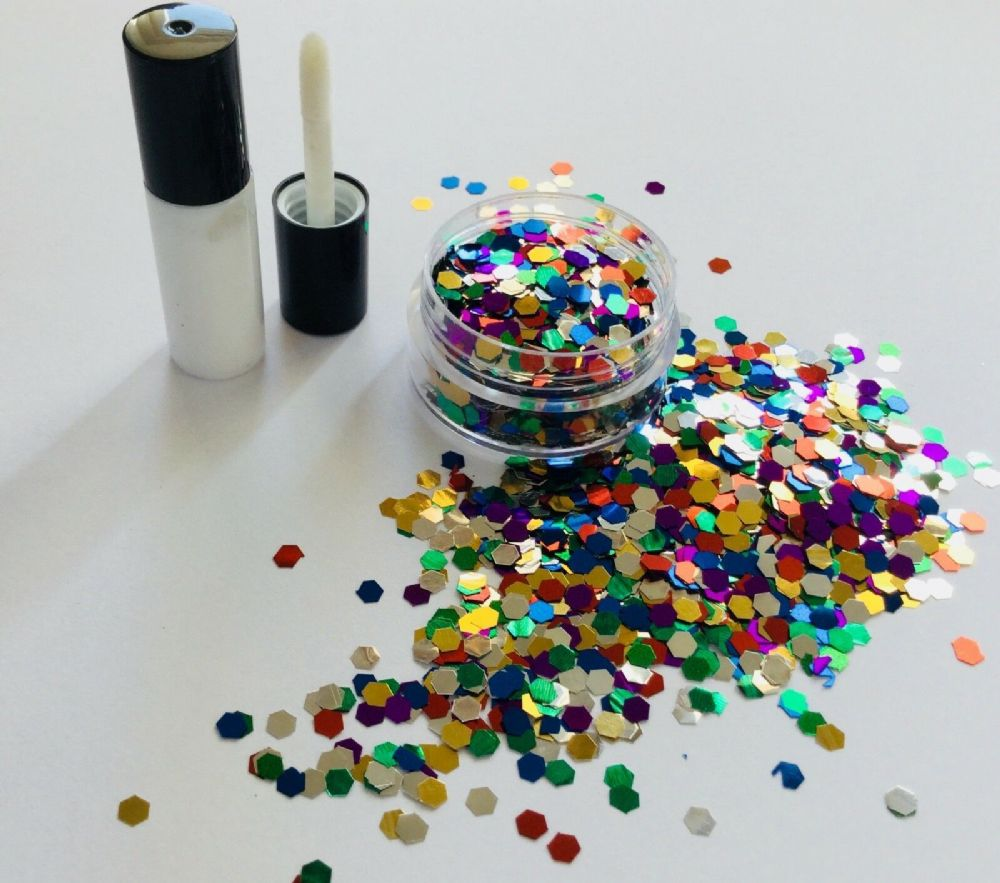 FESTIVAL GLITTER KIT - 3mm MULTI COLOUR HEXAGON
